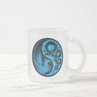 Blue and Black Dragon Phoenix Yin Yang Frosted Glass Coffee Mug