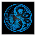 Blue and Black Dragon Phoenix Yin Yang Poster