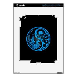 Blue and Black Dragon Phoenix Yin Yang Decal For iPad 3