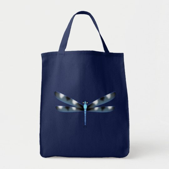 Blue and Black Dragonfly Canvass Tote Bag