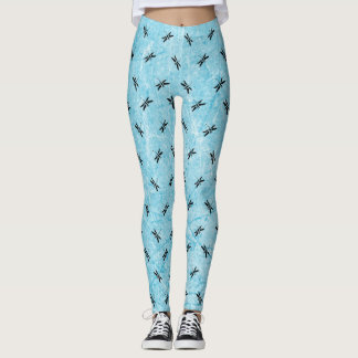 Blue and Black Dragonfly Leggings