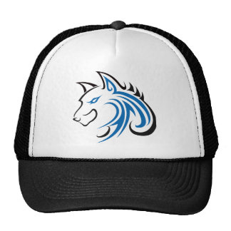 Blue and Black Ears Wolf Head Outline Trucker Hat