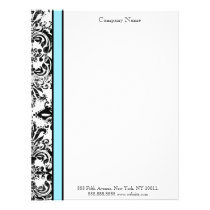 Blue and Black Elegant Damask Letterhead