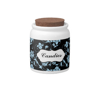 Blue and Black Floral Candy Jar
