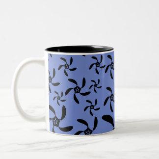 Blue and Black Floral Design. Coffee Mug