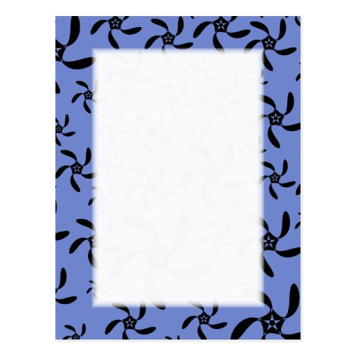 Blue and Black Floral Design. Postcard