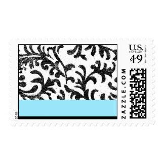 Blue and Black Floral Pattern Postage