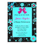 Blue and Black Floral Retirement Party Invitation