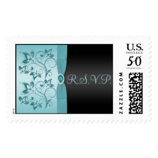 Blue and Black Floral RSVP Postage