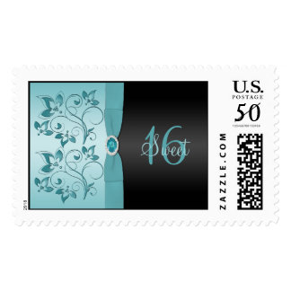 Blue and Black Floral Sweet Sixteen Postage