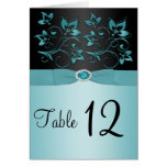 Blue and Black Floral Table Number/Menu Card Greeting Cards