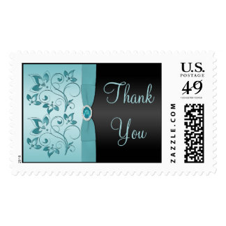 Blue and Black Floral Thank You Postage