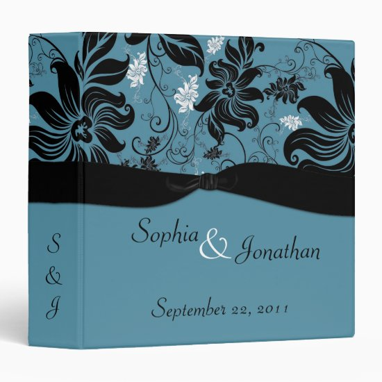 Blue and Black Floral Wedding Binder