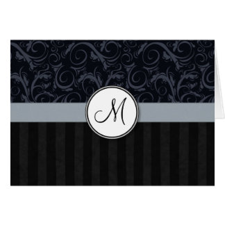 Blue and Black Floral Wisps, Stripes with Monogram Greeting Card