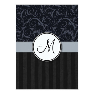 Blue and Black Floral Wisps, Stripes with Monogram Personalized Invite
