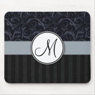 Blue and Black Floral Wisps, Stripes with Monogram Mouse Pad