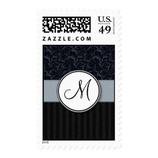Blue and Black Floral Wisps, Stripes with Monogram Stamp