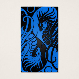 Blue and Black Flying Yin Yang Dragons Business Card