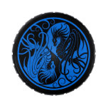 Blue and Black Flying Yin Yang Dragons Jelly Belly Candy Tins