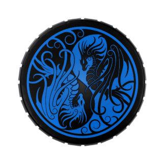 Blue and Black Flying Yin Yang Dragons Candy Tins