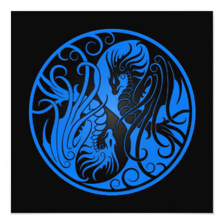 Blue and Black Flying Yin Yang Dragons Card