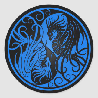 Blue and Black Flying Yin Yang Dragons Classic Round Sticker