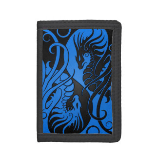 Blue and Black Flying Yin Yang Dragons Trifold Wallet