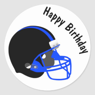 Blue and Black Football Birthday Sticker