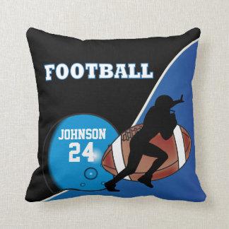 Blue and Black Football   DIY Name & Number Throw Pillow