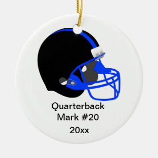 Blue and Black Football Ornament
