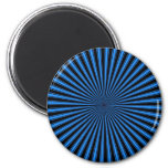 Blue and Black Funky Striped Abstract Art 2 Inch Round Magnet