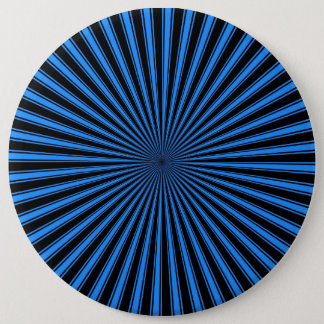 Blue and Black Funky Striped Abstract Art Button