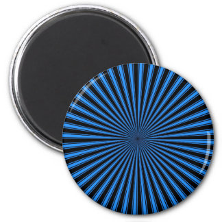 Blue and Black Funky Striped Abstract Art Magnet