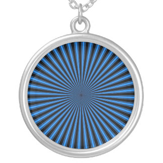 Blue and black Funky Striped Abstract Art Round Pendant Necklace