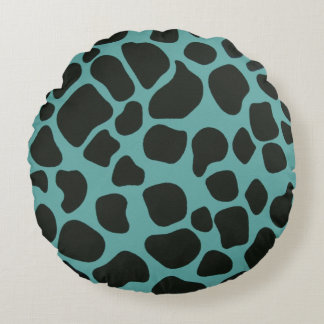 Blue and Black Giraffe Round Pillow