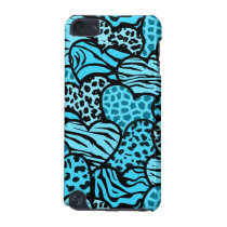 Blue and black girly animal print hearts iPod touch (5th generation) cover