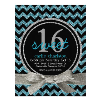 Blue and Black Glitter Look Chevron Sweet 16 Party Invite