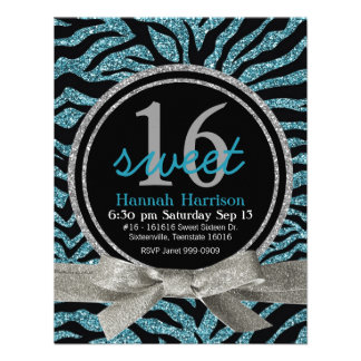 Blue and Black Glitter Look Zebra Sweet 16 Party Personalized Invitation