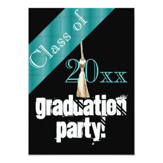 Blue and Black graduation party Card