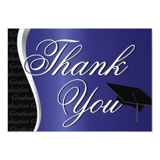 Blue and Black Graduation Thank You 5x7 Paper Invitation Card