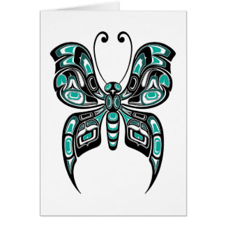 Blue and Black Haida Spirit Butterfly on White Card