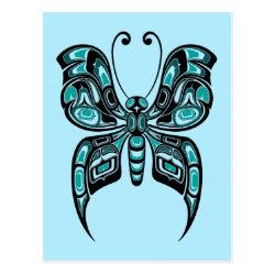 Blue and Black Haida Spirit Butterfly Postcard