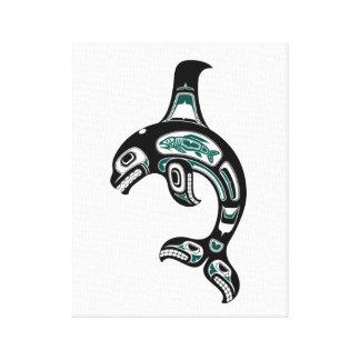 Blue and Black Haida Spirit Killer Whale Gallery Wrap Canvas