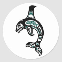 Blue and Black Haida Spirit Killer Whale Classic Round Sticker