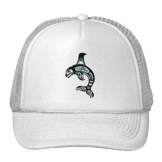 Blue and Black Haida Spirit Killer Whale Trucker Hats
