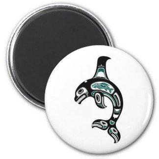 Blue and Black Haida Spirit Killer Whale Refrigerator Magnet