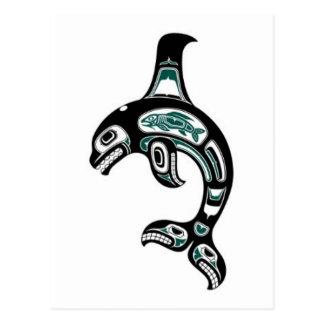 Blue and Black Haida Spirit Killer Whale Postcard
