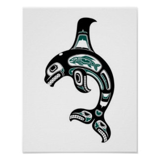 Blue and Black Haida Spirit Killer Whale Poster