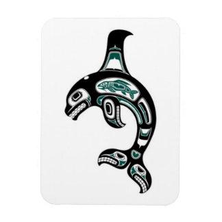 Blue and Black Haida Spirit Killer Whale Rectangular Magnets