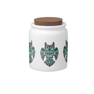 Blue and Black Haida Spirit Owl Candy Jar